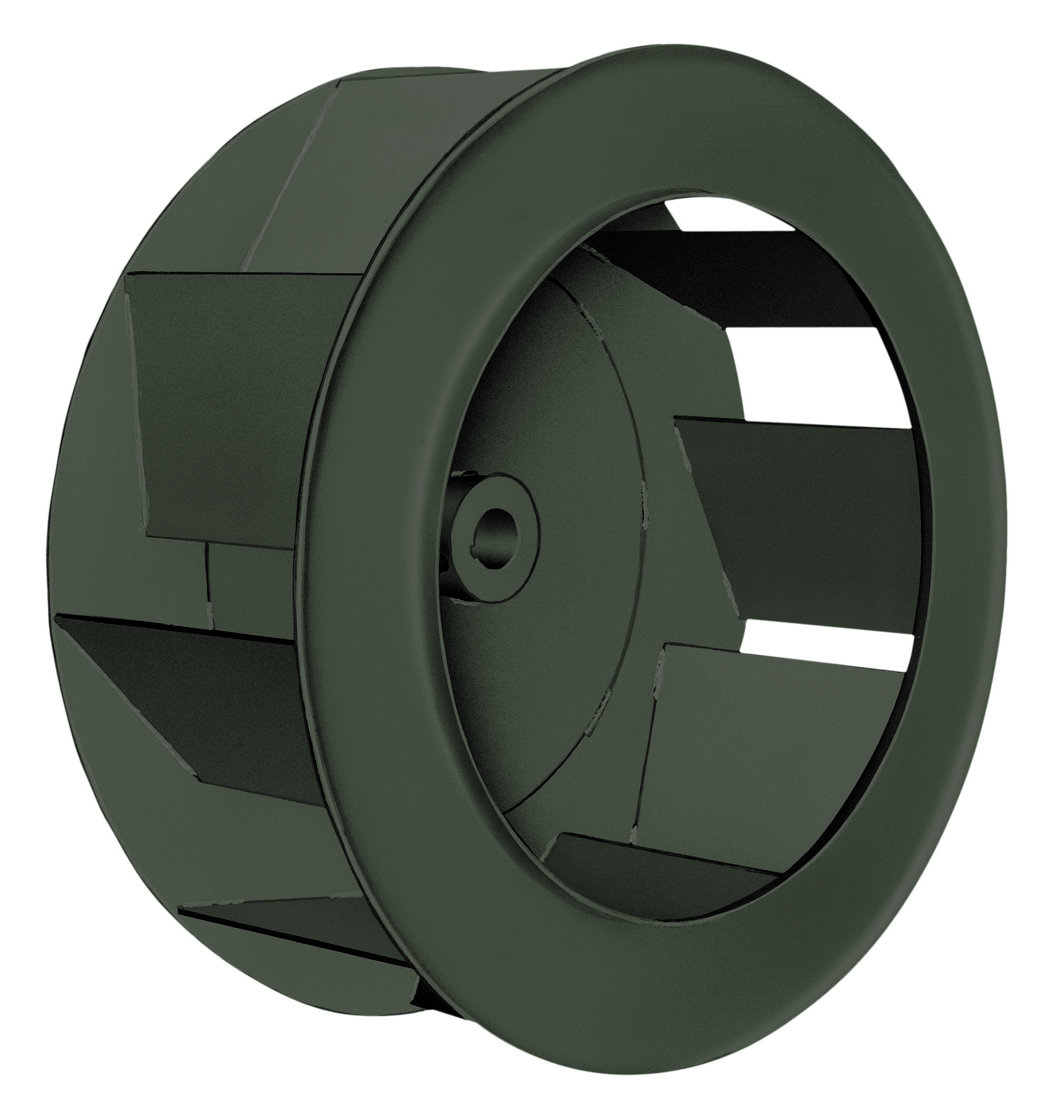 backward inclined single thickness wheel design